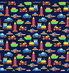 Colorful toy transport seamless pattern vector