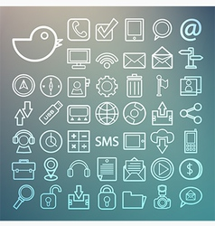 Communication and transportaion icon set Retina vector image