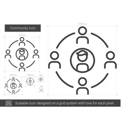Community line icon vector