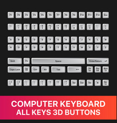 Computer keyboard all keys buttons 3d icon set vector