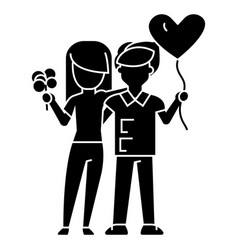 Couple loving - with flowers and balloon icon vector