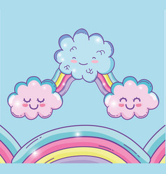 Cute rainbow with kawaii fluffy clouds vector