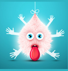 cute shaggy creature with many hands and stick vector image