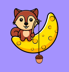 Cute squirrel catch nut from moon mascot vector