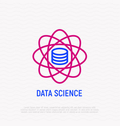 Data science thin line icon vector