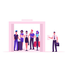 different people standing in elevator with open vector image