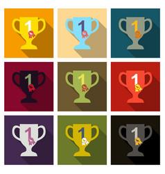 Dog champion cup flat cartoon vector
