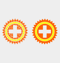 dot and flat medical cross icon vector image