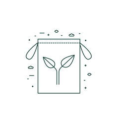eco friendly grocery bag icon in line art vector image