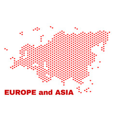 europe and asia map - mosaic of lovely hearts vector image