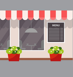 Exterior cafe flower in pot menu vector