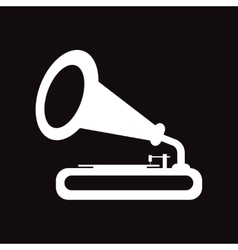 Flat icon in black and white style gramophone vector