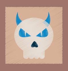 Flat shading style icon halloween emotion skull vector
