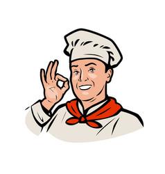 Funny chef restaurant or cafe logo vector