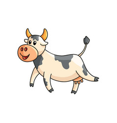 Funny smiling spotted cow walking isolated on vector