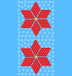Geometric red flower consisting of isometric cubes vector