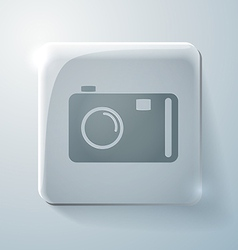 Glass square icon with highlights photo camera vector image