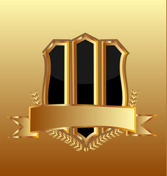 gold emblem shield on gold background icon vector image
