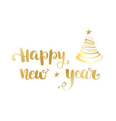 Gold happy new year brush lettering text on white vector