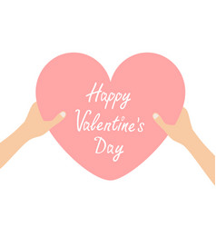 happy valentines day hands arms holding pink vector image
