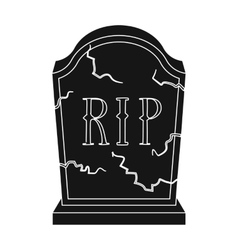 Headstone icon in black style isolated on white vector
