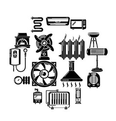 heat cool air flow tools icons set simple style vector image
