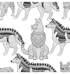 High detailed seamless pattern with dogs vector image