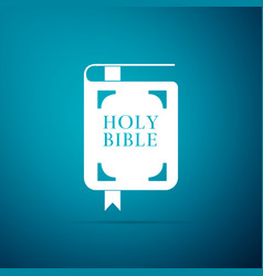 holy bible book icon isolated on blue background vector image