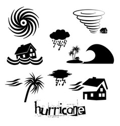 Hurricane natural disaster problem icons set eps10 vector