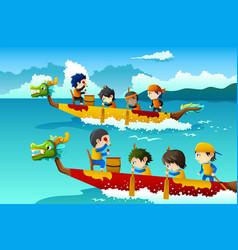 Kids in a boat race vector