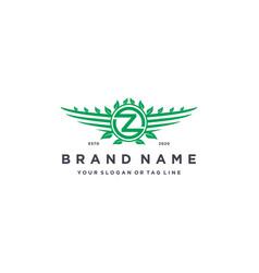 Letter z leaf wing logo design concept vector