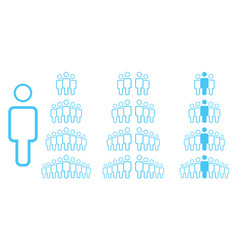 linear people icons work group team persons crowd vector image