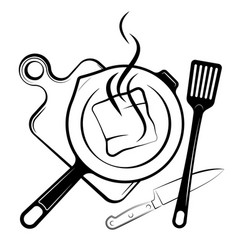 Logo for the menu or restaurant frying pan and vector