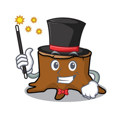 Magician tree stump mascot cartoon vector
