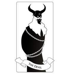 major arcana tarot cards the devil man wearing a vector image