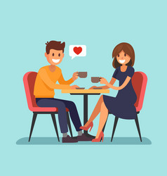 man and wooman sitting in a cafe vector image