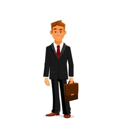 Man in business suit with briefcase vector