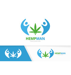 marijuana leaf and people logo combination vector image