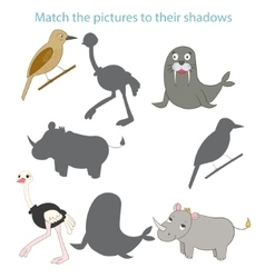 Match the pictures to their shadows child game vector image