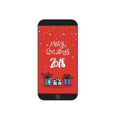 merry christmas 2018 message on modern cell smart vector image
