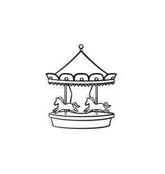 merry-go-round carousel hand drawn outline doodle vector image