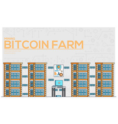 mining crypto currency bitcoin horizontal banner vector image