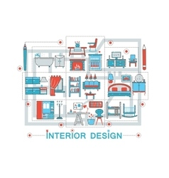 Modern Flat thin Line Interior art design concept vector image