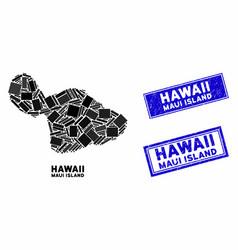 Mosaic maui island map and grunge rectangle vector