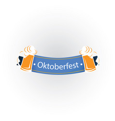 oktoberfest blue ribbon two mugs beer image vector image