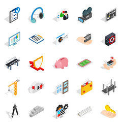 Optimisation icons set isometric style vector