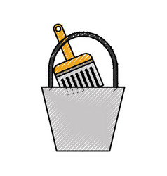 Paint bucket brush repair tools construction vector