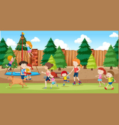 People at playground background vector