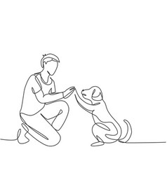 pet care and friendship concept one single line vector image
