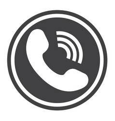 phone call solid icon contact us and website vector image vector image